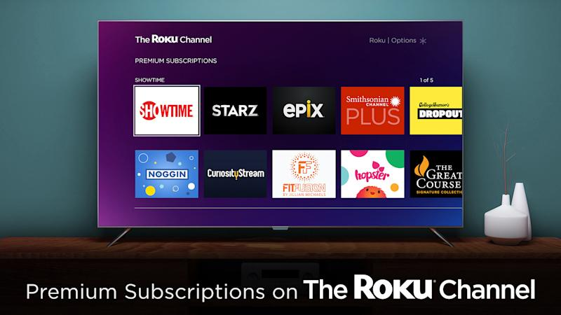 A television showing premium subscriptions available on The Roku Channel.