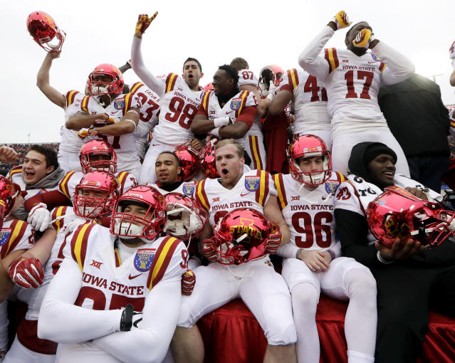 Iowa State players celebrate after beating Memphis in the Liberty Bowl NCAA college football game, Saturday, Dec. 30, 2017, in Memphis, Tenn. Iowa State won 21-20. (AP Photo/Mark Humphrey)