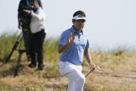 Louis Oosthuizen, of South Africa, waves from the seventh green during the third round at the PGA Championship golf tournament on the Ocean Course, Saturday, May 22, 2021, in Kiawah Island, S.C. (AP Photo/Chris Carlson)