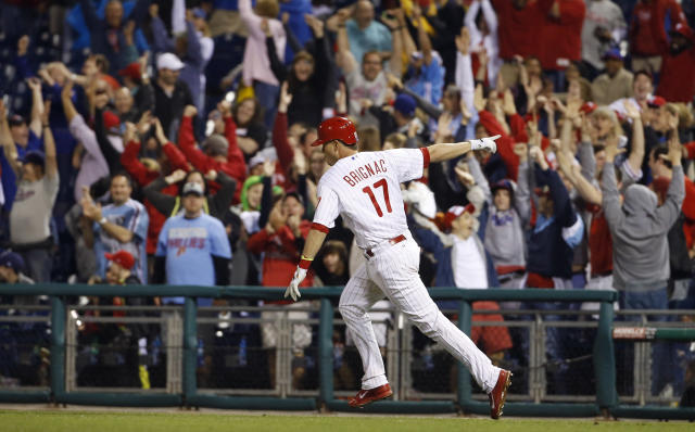 Philadelphia Phillies' Reid Brignac reacts as he rounds the bases after hitting a game-winning three-run home run off San Diego Padres relief pitcher Nick Vincent during the ninth inning of a baseball game on 3Wednesday, June 11, 2014, in Philadelphia. Philadelphia won 3-0. (AP Photo/Matt Slocum)