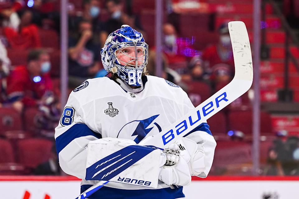 MONTREAL, QC - JULY 05: Look on Tampa Bay Lightning goalie Andrei Vasilevskiy (88) during the NHL Stanley Cup Playoffs Final game 4 between the Tampa Bay Lightning versus the Montreal Canadiens on July 05, 2021, at Bell Centre in Montreal, QC (Photo by David Kirouac/Icon Sportswire via Getty Images)
