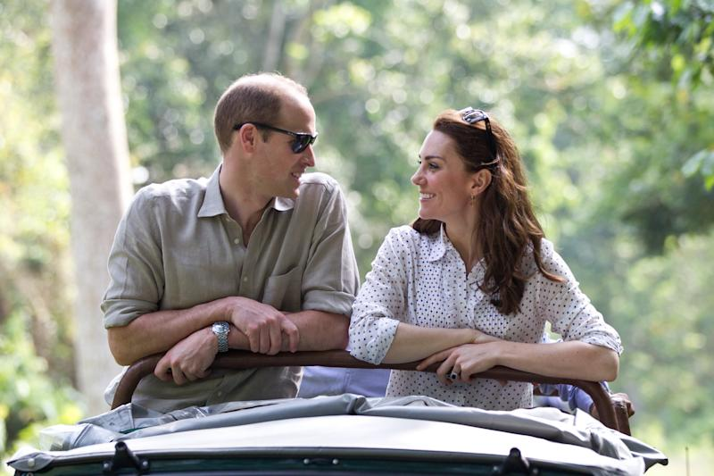 Catherine, Duchess of Cambride and Prince William, Duke of Cambridge ride in an open-air jeep on safari around the National Park at Kaziranga National Park on April 13, 2016 in Guwahati, India. Photo by Samir Hussein/Pool/WireImage.