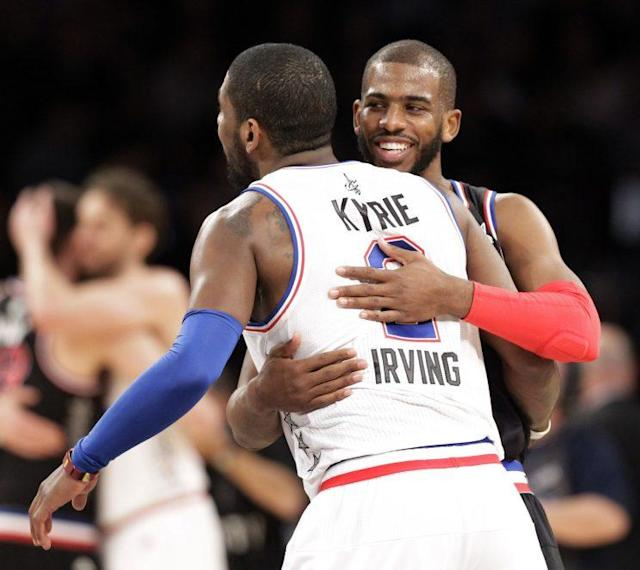 "<a class=""link rapid-noclick-resp"" href=""/nba/players/3930/"" data-ylk=""slk:Chris Paul"">Chris Paul</a> recognizes <a class=""link rapid-noclick-resp"" href=""/nba/players/4840/"" data-ylk=""slk:Kyrie Irving"">Kyrie Irving</a> just needs a hug. (AP)"