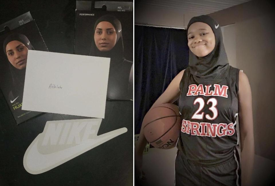 On the left is the package Camrin Hampton received from Nike. On the right she is showing off her new hijab designed for female Muslim athletes. (Photos via Bryan Stephens)