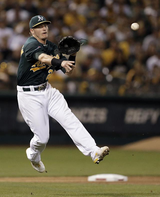 Oakland Athletics third baseman Josh Donaldson throws out Detroit Tigers Jose Iglesias in the fourth inning of Game 1 of the American League baseball division series in Oakland, Calif., Friday, Oct. 4, 2013. (AP Photo/Ben Margot)