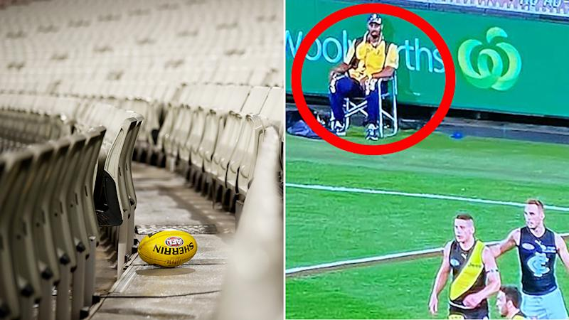 Fans have joked about the need for security at the AFL's Thursday night season-opener between Richmond and Carlton. Picture: Getty Images/Twitter