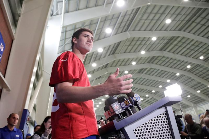 New York Giants first round draft pick Daniel Jones, 6th overall, talks to reporters during NFL football rookie camp, Friday, May 3, 2019, in East Rutherford, N.J. (AP Photo/Julio Cortez)