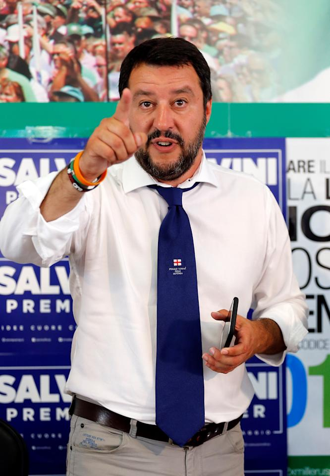 Northern League's leader Matteo Salvini gestures during a news conference in Milan, Italy, June 26, 2017.  REUTERS/Alessandro Garofalo