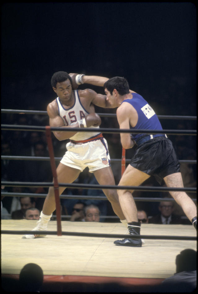 <p>Two-time heavyweight champion and entrepreneur George Foreman won an Olympic gold medal at the 1968 Summer Olympics in Mexico City, defeating the Soviet Union's Jonas Cepulis in just two rounds. (Getty) </p>