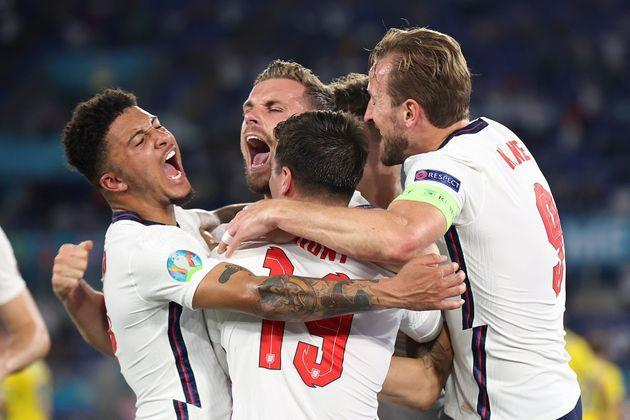 Jordan Henderson of England celebrates with Jadon Sancho, Mason Mount and Harry Kane after scoring their side's fourth goal during the UEFA Euro 2020 Championship Quarter-final match between Ukraine and England at Olimpico Stadium in Rome. (Photo: Eddie Keogh - The FA via Getty Images)