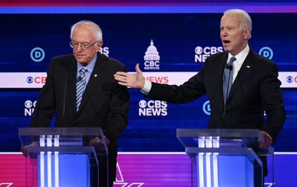 PHOTO: Democratic presidential hopefuls Sen. Bernie Sandersand Former Vice President Joe Biden participate in the tenth Democratic primary debate at the Gaillard Center in Charleston, South Carolina, Feb. 25, 2020. (Jim Watson/AFP via Getty Images)