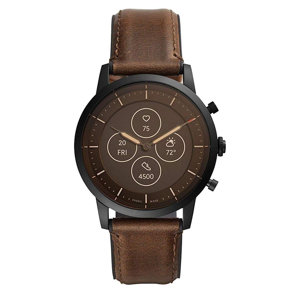 "<p><strong>Fossil</strong></p><p>amazon.com</p><p><strong>$138.99</strong></p><p><a href=""https://www.amazon.com/dp/B07SY4V5QQ?tag=syn-yahoo-20&ascsubtag=%5Bartid%7C2089.g.293%5Bsrc%7Cyahoo-us"" rel=""nofollow noopener"" target=""_blank"" data-ylk=""slk:Shop Now"" class=""link rapid-noclick-resp"">Shop Now</a></p><p>The Fossil Collider HR hybrid smartwatch is a great tech gift. At a quick glance, it looks like a classic chronograph with mechanical hands and a three-button layout. But it's also equipped with a built-in, always-on display and a heart rate sensor.</p><p>The Collider HR can deliver notifications from a smartphone, among many other functions. Its buttons are customizable via a mobile app. The stainless steel timepiece is also waterproof up to 50 meters.</p>"