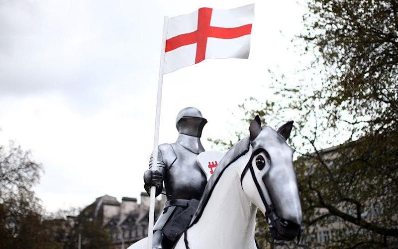 A 15-foot high statue of St George astride a horse is unveiled at Wellington Arch in London - 2015 Getty Images