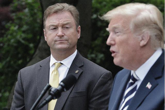 Sen. Dean Heller, R-Nev., with President Trump in the Rose Garden of the White House, June 6, 2018. (Photo: Chip Somodevilla/Getty Images)