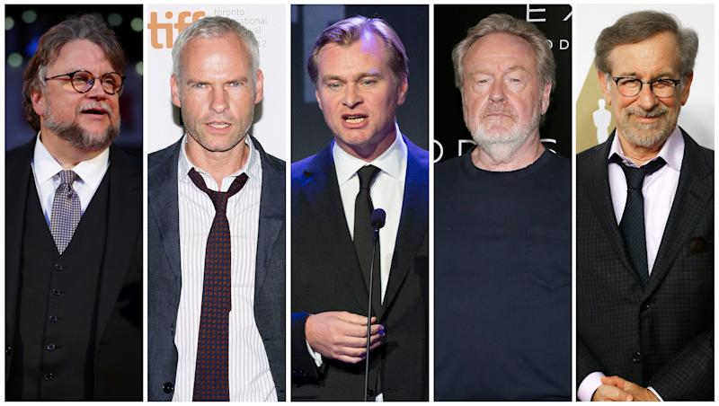 50 shades of beige: Guillermo del Toro, Martin McDonagh, Christopher Nolan, Ridley Scott and Steven Spielberg, who are all nominated for a Golden Globe in the Best Director, Motion Picture category this year. (Reuters Staff/Reuters)