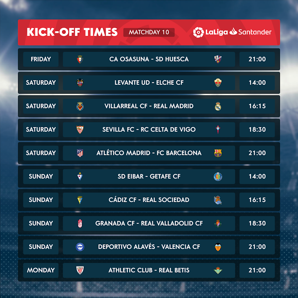<p>This weekend's fixture list</p>LaLiga