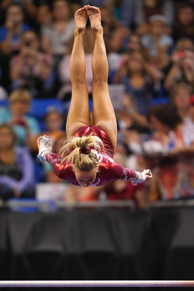 ST. LOUIS, MO - JUNE 10: Nastia Liukin competes on the uneven bar during the Senior Women's competition on day four of the Visa Championships at Chaifetz Arena on June 10, 2012 in St. Louis, Missouri.  (Photo by Dilip Vishwanat/Getty Images)