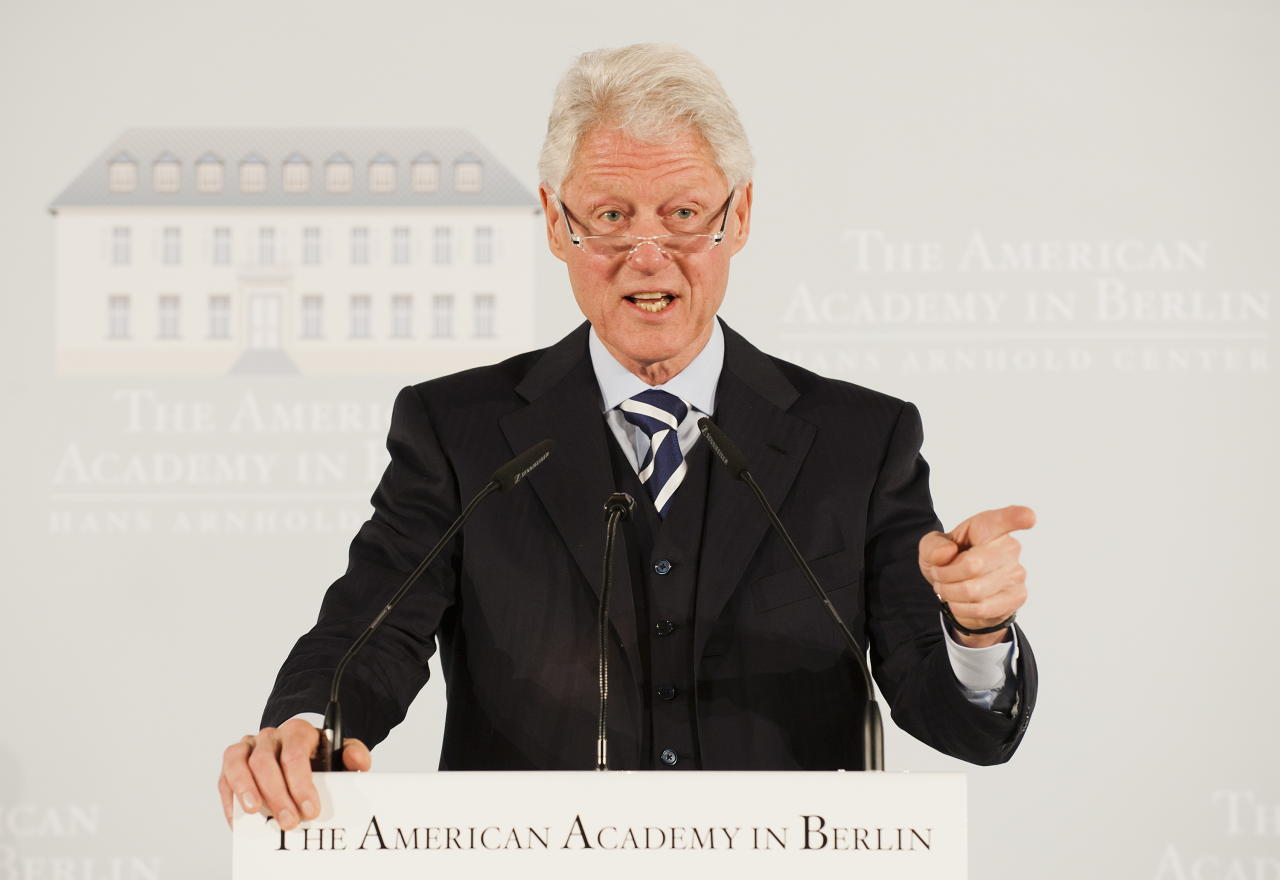 BERLIN, GERMANY - MAY 16:  Former U.S. President Bill Clinton holds a speech during the Henry A. Kissinger Prize ceremony at the American Academy in Berlin on May 16, 2011 in Berlin, Germany. Kissinger is awarding Kohl the prize in recognition of Kohl's contribution to German reunification. (Photo by Clemens Bilan-Pool/Getty Images)