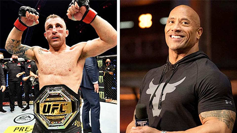 Dwayne 'The Rock' Johnson (pictured right) during a TV show and (pictured left) Alexander Volkanovski's celebrating with his title.