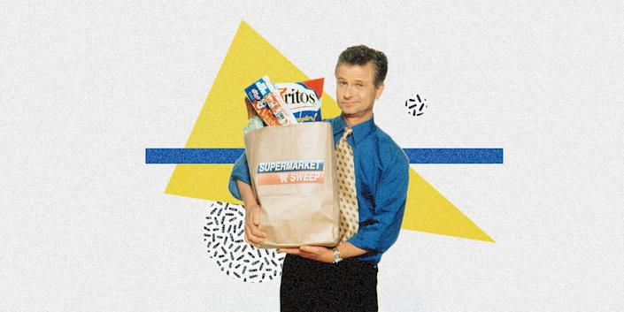 "David Ruprecht began hosting ""Supermarket Sweep"" in 1990. (Photo: ILLUSTRATION: ISABELLA CARAPELLA/HUFFPOST; PHOTO: PAX/Everett Collection)"