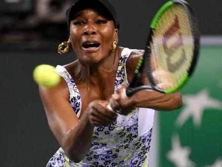 Mar 16, 2018; Indian Wells, CA, USA; Venus Williams (USA) during her semifinal match against Daria Kasatkina (not pictured) in the BNP Paribas Open at the Indian Wells Tennis Garden. Mandatory Credit: Jayne Kamin-Oncea-USA TODAY Sports