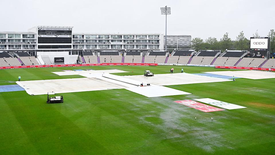Rain, pictured here ruining the start the ICC World Test Championship final.