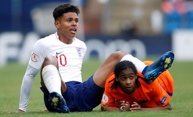 Soccer Football - UEFA European Under-17 Championship Semi-Final - England vs Netherlands - Proact Stadium, Chesterfield, Britain - May 17, 2018 England's Faustino Anjorin in action with Netherlands' Crysencio Summerville Action Images via Reuters/Carl Recine