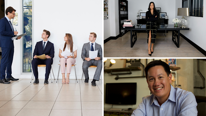 The expert's tips on how to impress in 7 seconds. Top right: Total Image Group CEO Pamela Jabbour; Bottom right: Executive Coach and Director of Executive Education and Visiting Professor of Business and Technology at Loyola Law School Hamilton Chan. (Source: Getty, Supplied)