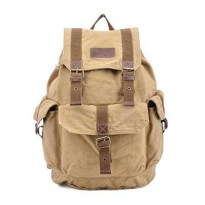 """This utilitarian rucksack is made of thick, durable canvas. It features a drawstring closure under the flap, dual side pockets, inner zippered compartments, and a front pocket to store items you need easy access to. Seen here in khaki, the bag also comes in other neutral shades. $43, Amazon. <a href=""""https://www.amazon.com/dp/B00A6IY8AO/ref=twister_B06ZXWNK5L"""" rel=""""nofollow noopener"""" target=""""_blank"""" data-ylk=""""slk:Get it now!"""" class=""""link rapid-noclick-resp"""">Get it now!</a>"""