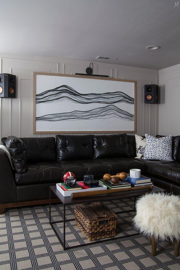 """<p>Who says man caves can't be stylish and elegant? The Makerista incorporates typically masculine elements like rich, dark leather and wood, while breaking stereotypes with a white faux fur ottoman and floral throw pillows.</p><p><strong>See more at <a href=""""https://www.themakerista.com/one-room-challenge-week-6-reveal/"""" rel=""""nofollow noopener"""" target=""""_blank"""" data-ylk=""""slk:The Makerista"""" class=""""link rapid-noclick-resp"""">The Makerista</a>. </strong></p><p><a class=""""link rapid-noclick-resp"""" href=""""https://go.redirectingat.com?id=74968X1596630&url=https%3A%2F%2Fwww.walmart.com%2Fip%2FFaux-Fur-Stool-Ottoman-Wood-Legs-White%2F356738922&sref=https%3A%2F%2Fwww.redbookmag.com%2Fhome%2Fg36061437%2Fbasement-ideas%2F"""" rel=""""nofollow noopener"""" target=""""_blank"""" data-ylk=""""slk:SHOP FUR STOOLS"""">SHOP FUR STOOLS</a></p>"""