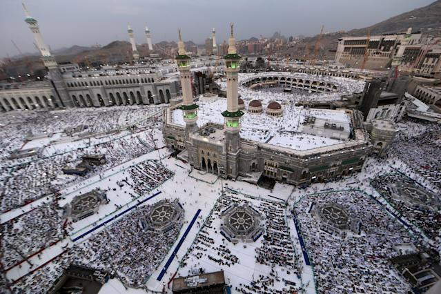 <p>Muslim pilgrims pray at the Grand Mosque in the holy Saudi city of Mecca, on Aug. 29, 2017, on the eve of the start of the annual hajj pilgrimage. (Photo: Karim Sahib/AFP/Getty Images) </p>