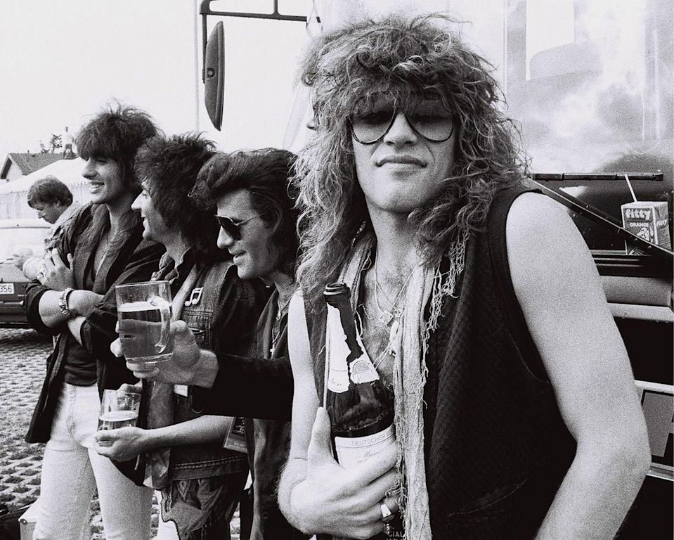 <p>Jon Bon Jovi and his band have a drink (many of them) backstage at the Monsters Of Rock festival in Mannheim, West Germany, on August 3, 1986.</p>