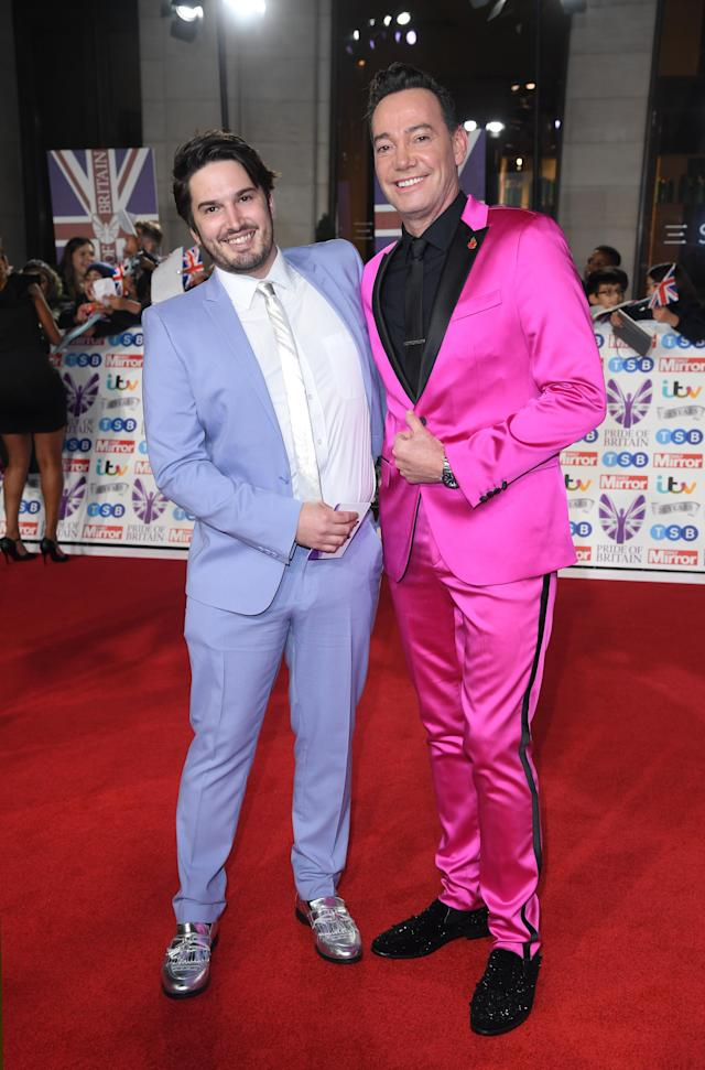 Jonathan Myring and Craig Revel Horwood attend the Pride Of Britain Awards 2019 at The Grosvenor House Hotel on October 28, 2019 in London, England. (Photo by Karwai Tang/WireImage)