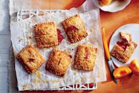 """<p>Apricots bring out the tangy side of strawberries in the jammy filling for these flaky <a href=""""https://www.southernliving.com/valentines-day/how-to-make-cherry-hand-pies-video"""" rel=""""nofollow noopener"""" target=""""_blank"""" data-ylk=""""slk:hand pies"""" class=""""link rapid-noclick-resp"""">hand pies</a>. Can't find fresh apricots? Our Test Kitchen also used dried apricots with delicious results. Why bother with expensive store-bought tartlets when these delicious homemade treats are so easy to make? This recipe, which uses one cup of chopped strawberries, is a fun and innovative way to use the <a href=""""https://www.southernliving.com/food/holidays-occasions/fresh-berry-recipes"""" rel=""""nofollow noopener"""" target=""""_blank"""" data-ylk=""""slk:fresh berries"""" class=""""link rapid-noclick-resp"""">fresh berries</a> you bought at the farmers' market.</p> <p><a href=""""https://www.myrecipes.com/recipe/strawberry-apricot-hand-pies"""" rel=""""nofollow noopener"""" target=""""_blank"""" data-ylk=""""slk:Strawberry-Apricot Hand Pies Recipe"""" class=""""link rapid-noclick-resp"""">Strawberry-Apricot Hand Pies Recipe</a></p>"""
