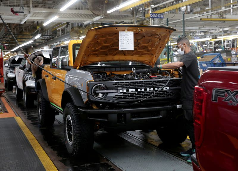 FILE PHOTO: The Ford 2021 Bronco SUV is seen on the assembly line at Michigan Assembly Plant