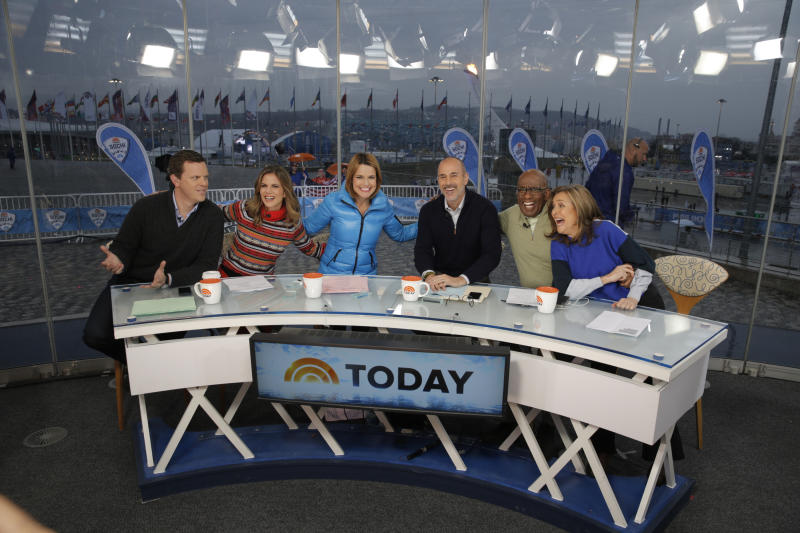 TODAY -- Pictured: (l-r) Willie Geist, Natalie Morales, Savannah Guthrie, Matt Lauer, Al Roker, Meredith Vieira from the 2014 Olympics in Socci -- (Photo by: Joe Scarnici/NBC/NBC Newswire/NBCUniversal via Getty Images)