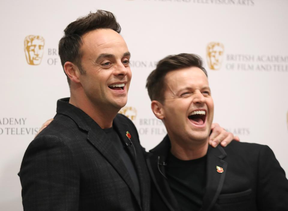 """LONDON, ENGLAND - NOVEMBER 05: Anthony McPartlin and Declan Donnelly attend """"Ant and Dec's DNA Journey"""" BAFTA TV Preview at Barbican Centre on November 05, 2019 in London, England. (Photo by Mike Marsland/WireImage)"""