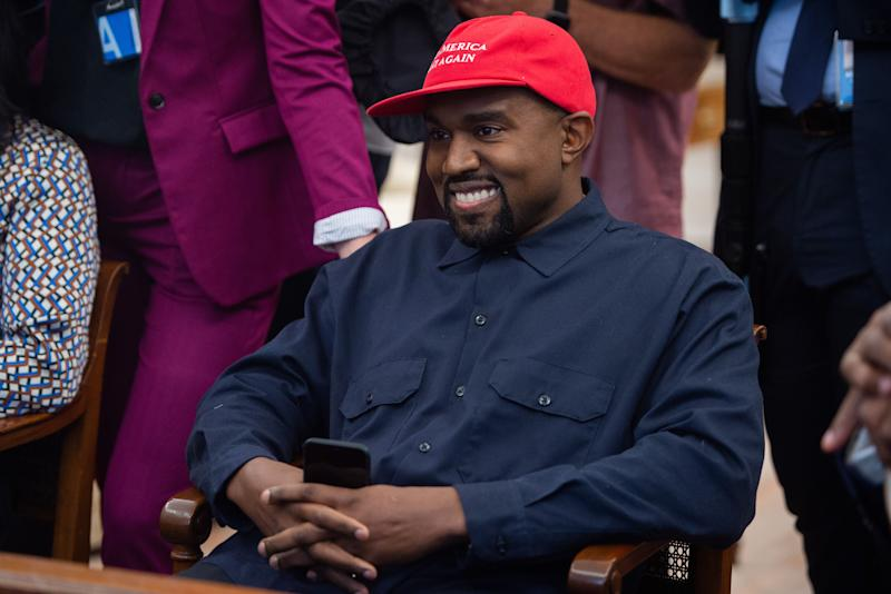 """Rapper Kanye West appeared on the Oct. 24 episode of """"The Joe Rogan Experience"""" to discuss his political aspirations. (Photo: SAUL LOEB/AFP/Getty Images)"""