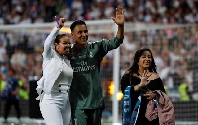 Soccer Football - Real Madrid celebrate winning the Champions League Final - Santiago Bernabeu, Madrid, Spain - May 27, 2018 Real Madrid's Keylor Navas celebrates during the victory celebrations REUTERS/Javier Barbancho