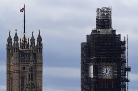 A partial view shows the Houses of Parliament and the Big Ben clock tower in London