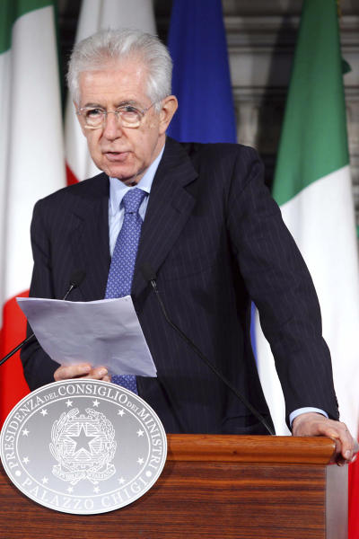 "Italian Premier Mario Monti talks to the media during a press conference he held at the end of a meeting with Polish Prime Minister Donald Tusk, not seen, at Villa Madama, Rome, Tuesday, May 29, 2012 .""Football should be stopped for two to three years,"" Monti said in a powerful message to Italy's football authorities on the need to clean up the game. ""It is not a proposal by the government but a question I am asking as someone who was passionate when football was still football."" He also ruled out the use of public money to bail out football teams in difficulty. The comment came after the latest match-fixing scandal rocked the national team and tarnished the image of the domestic game yet again just a week before the start of the European Championship, and dawn raids on Monday resulted in 14 arrests — including Lazio captain Stefano Mauri — to bring the total number of suspects arrested in the match-fixing probe to about 50 since last year. Many more have been placed under investigation. (AP Photo/Roberto Monaldo, Lapresse)"