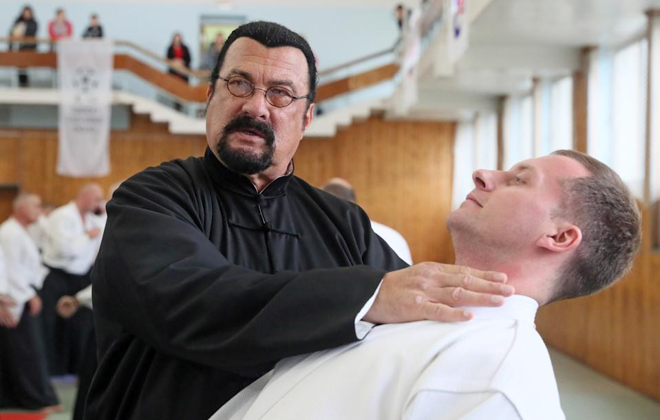 MOSCOW, RUSSIA - OCTOBER 12, 2019: American actor and martial artist Steven Seagal (L) gives an aikido masterclass during the 2nd International Budo Festival at the Fili sports complex. Vladimir Gerdo/TASS (Photo by Vladimir Gerdo\TASS via Getty Images)