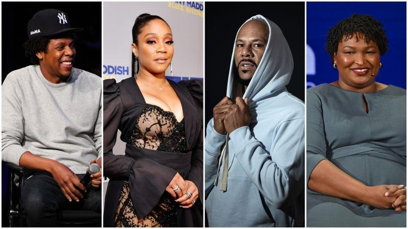 Jay-Z  on January 23, 2019 in New York City; Tiffany Haddish  on December 03, 2019 in Beverly Hills, Calif.; Common  in Paris on September 14, 2019; Stacey Abramson April 11, 2019 in New York City.
