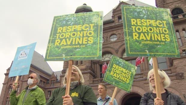 Community groups from across Toronto say they are being ignored in the transit planning process for projects in their neighbourhoods.They demonstrated in front of Queens Park on Oct. 6, 2021.  (CBC/ Paul Smith  - image credit)