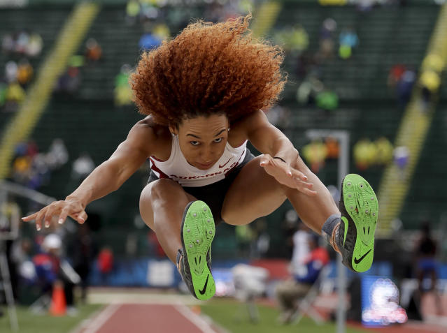 <p>Taliyah Brooks cometes during the heptathlon long jump at the U.S. Olympic Track and Field Trials, July 10, 2016, in Eugene Ore. (Photo: Matt Slocum/AP) </p>