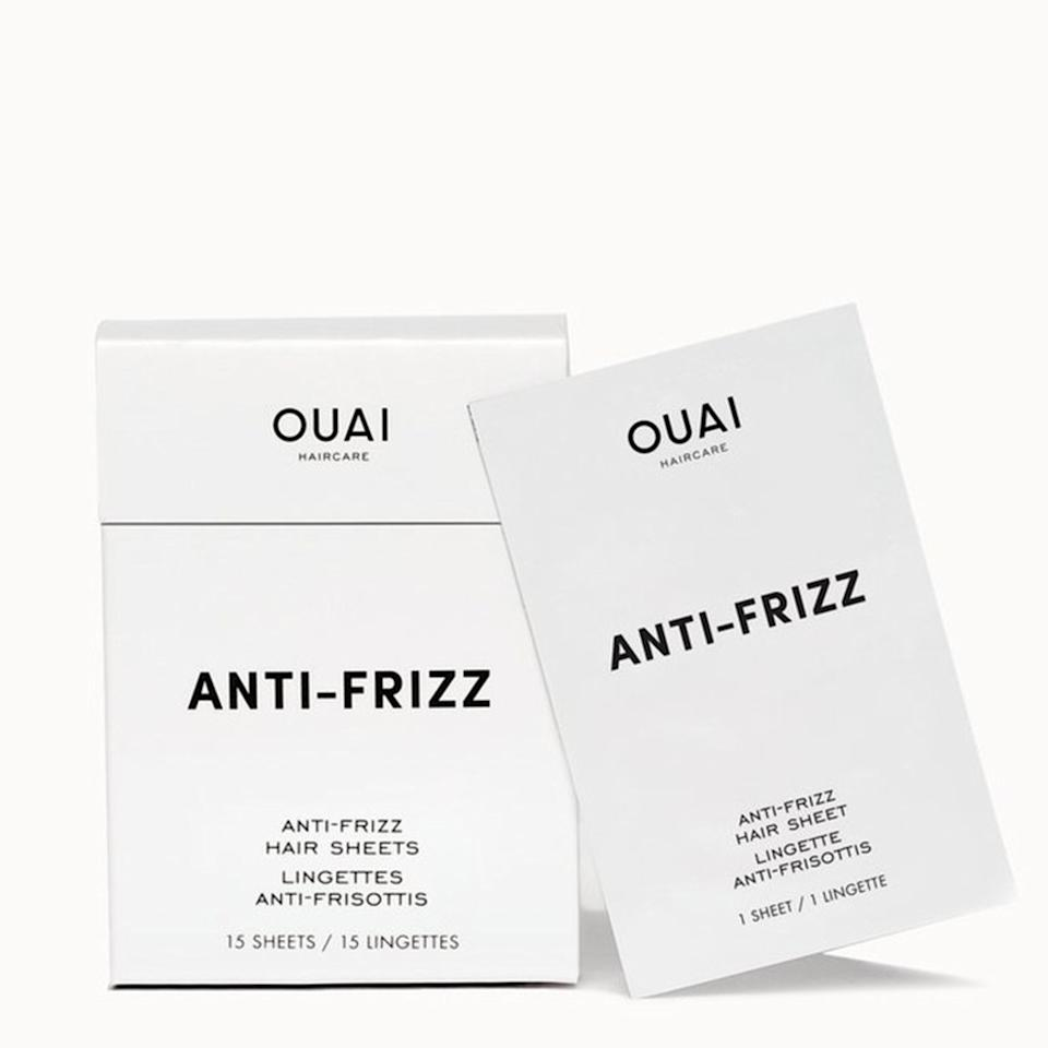 """<p>These ingenious portable <a href=""""https://www.allure.com/story/ouai-anti-frizz-sheets?mbid=synd_yahoo_rss"""">anti-frizz hair sheets</a> from Ouai are a great tool for keeping your hair in check while on the go. Pull one out of your handbag to tame random flyaways in instant.</p> <p>$18 (<a href=""""https://shop-links.co/1636288221602491430"""" rel=""""nofollow"""">Shop Now</a>)</p>"""
