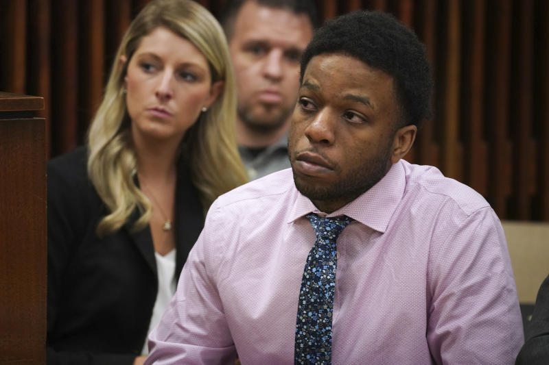 Corey Morgan appears during opening statements in his trial for the murder of 9-year-old Tyshawn Lee at the Leighton Criminal Court building in Chicago on Tuesday, Sept. 17, 2019. Morgan and Dwright Doty are on trial after being with first-degree murder in connection to the 2015 slaying. (E. Jason Wambsgans/Chicago Tribune via AP, Pool)