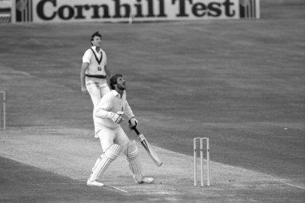 Jul 1981: Ian Botham of England looks skywards as he hits out off Geoff Lawson during his brilliant century in the historic 3rd test between England and Australia at Headingley in Leeds.     Mandatory Credit:  Adrian Murrell/Allsport UK