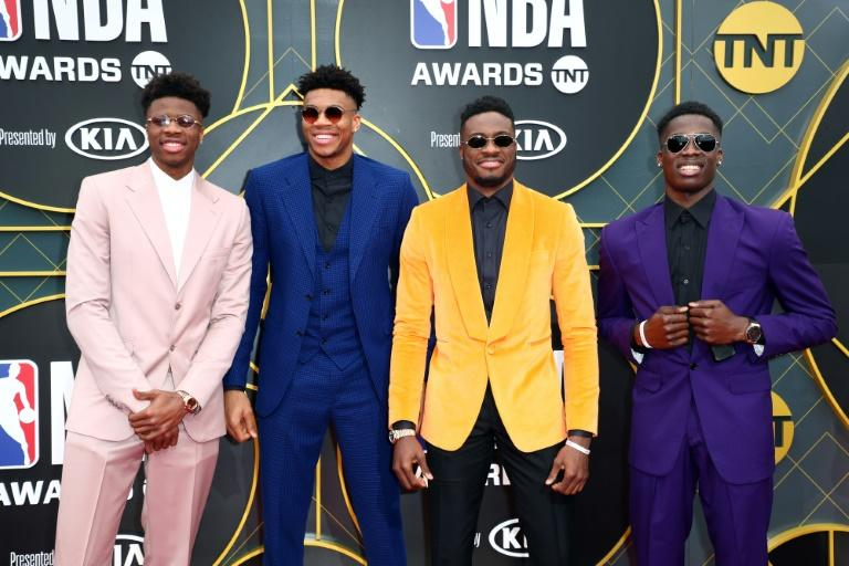 Band of brothers: (L-R) Kostas Antetokounmpo and brothers Giannis, Thanasis and Alexis
