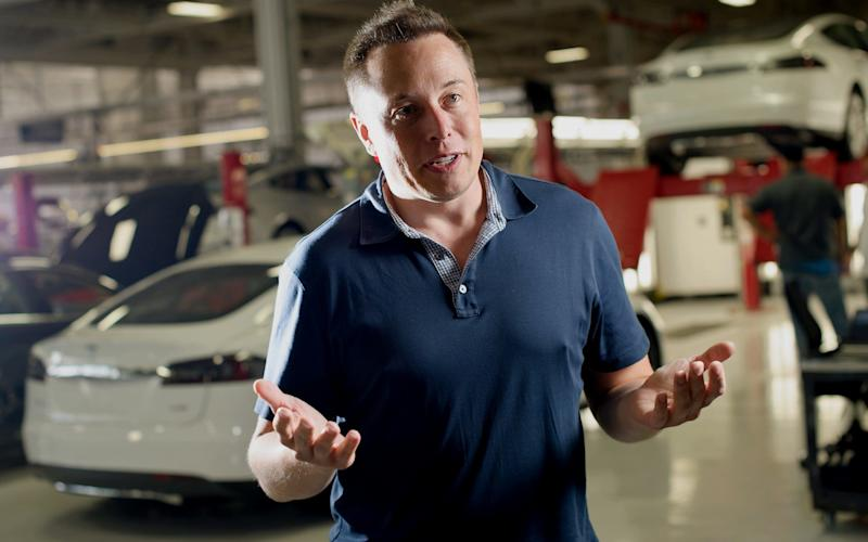 Elon Musk, co-founder and chief executive officer of Tesla Motors Inc., speaks during an interview at the company's assembly plant in Fremont, California, U.S., on Wednesday, July 10, 2013.